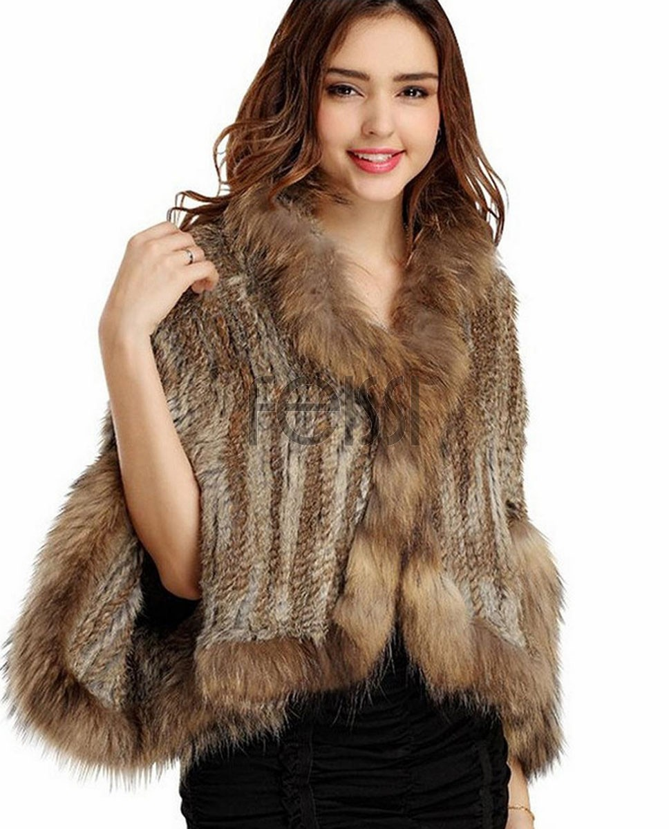 Knitted Rabbit Fur Cape with Raccoon Fur trim 718 Camel 1