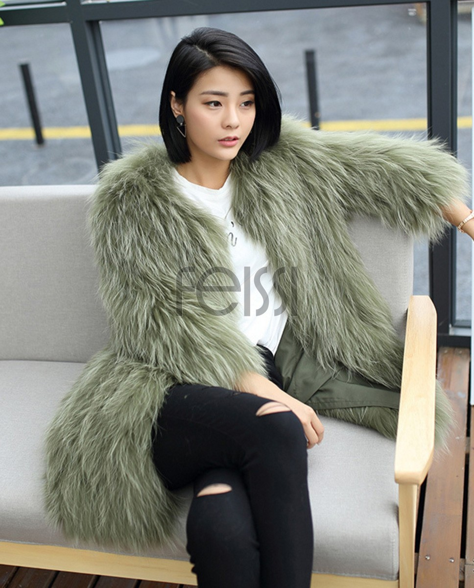 Knitted Raccoon Fur Coat 772 Green 1