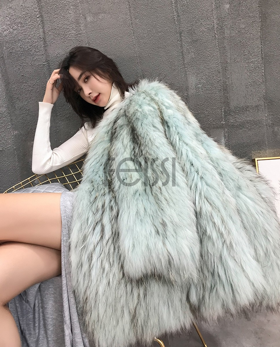 Knitted Raccoon Fur Jacket 311a