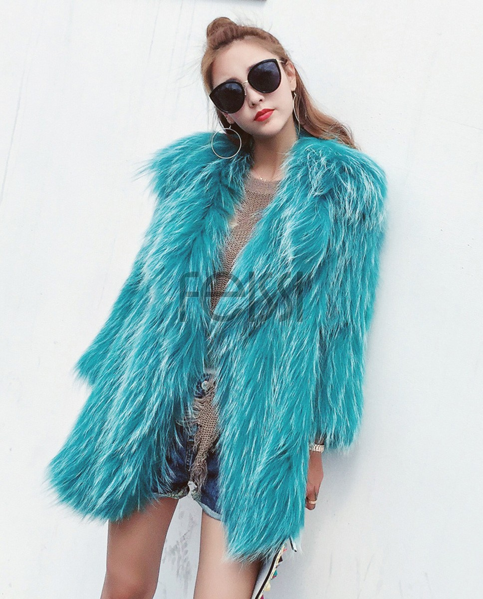 Knitted Raccoon Fur Jacket 931a