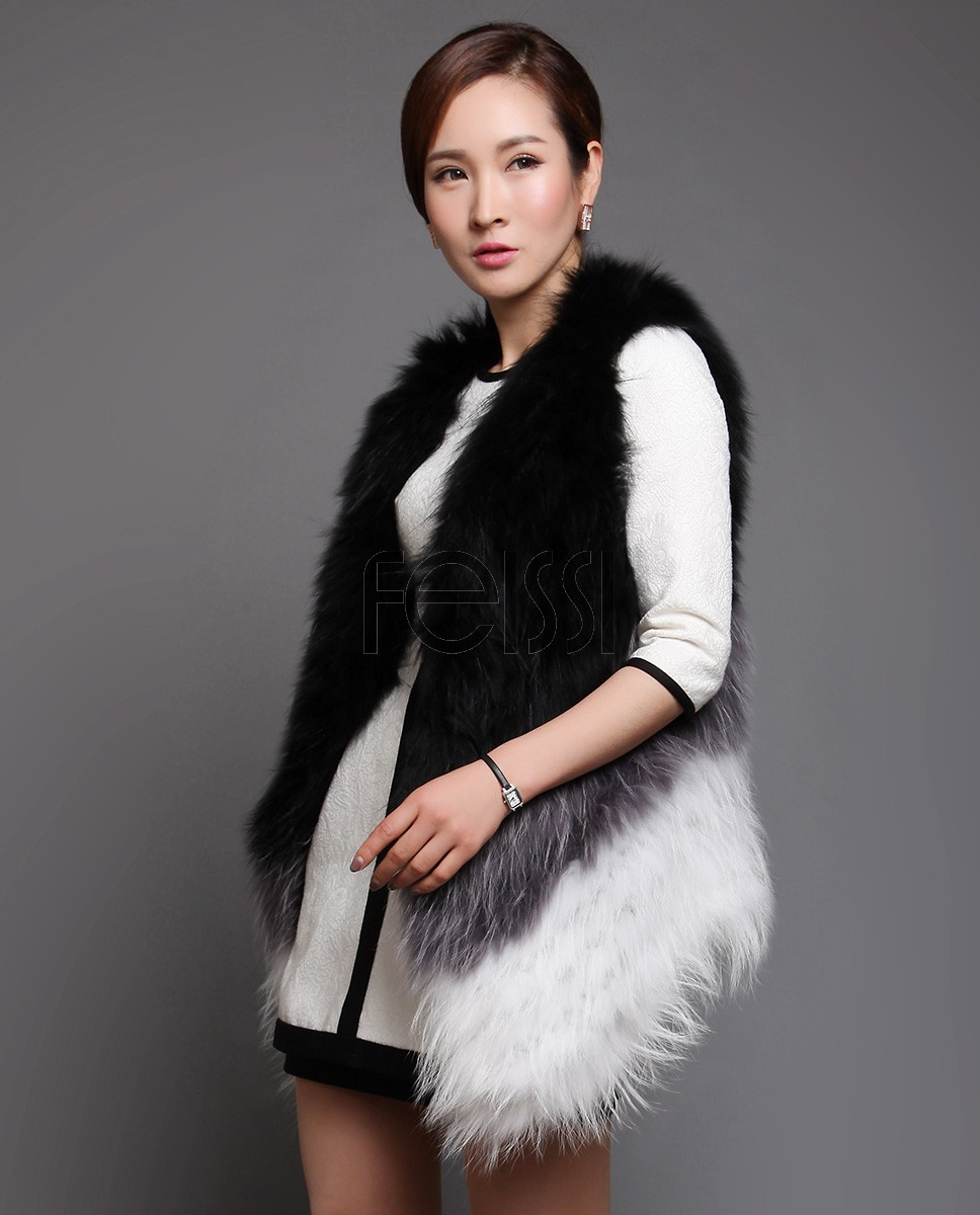 Knitted Raccoon Fur Vest 610_1