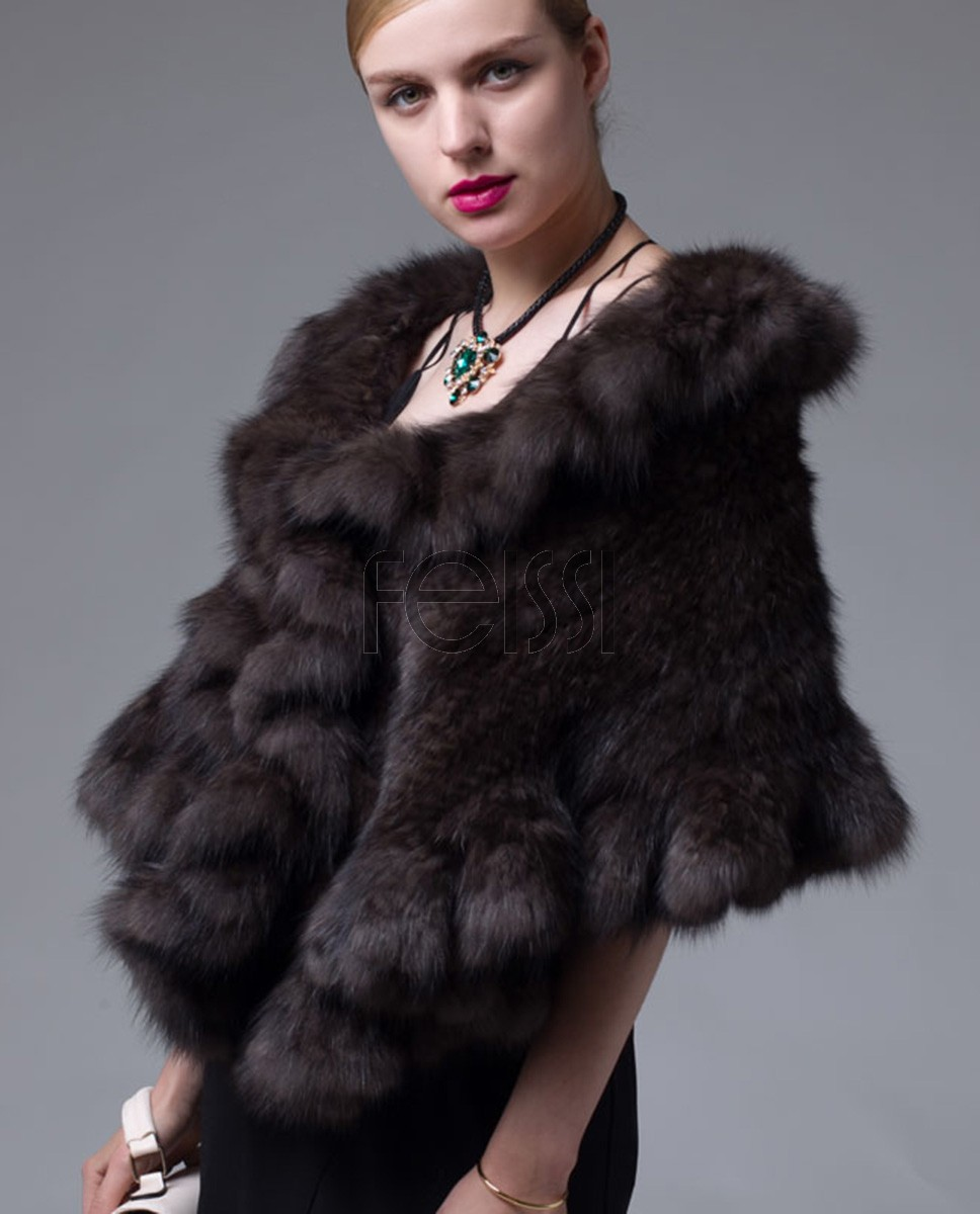 Knitted Sable Fur Cape 037a