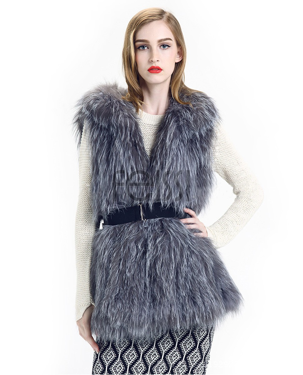 Knitted Silver Fox Fur Vest 825 a