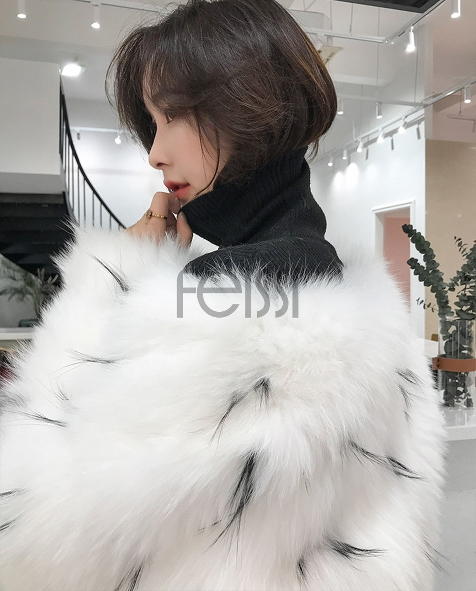 Knitted White Fox Fur Coat 317a