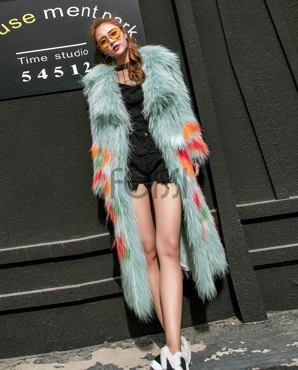 Long Length Knitted Raccoon Fur Coat 924a