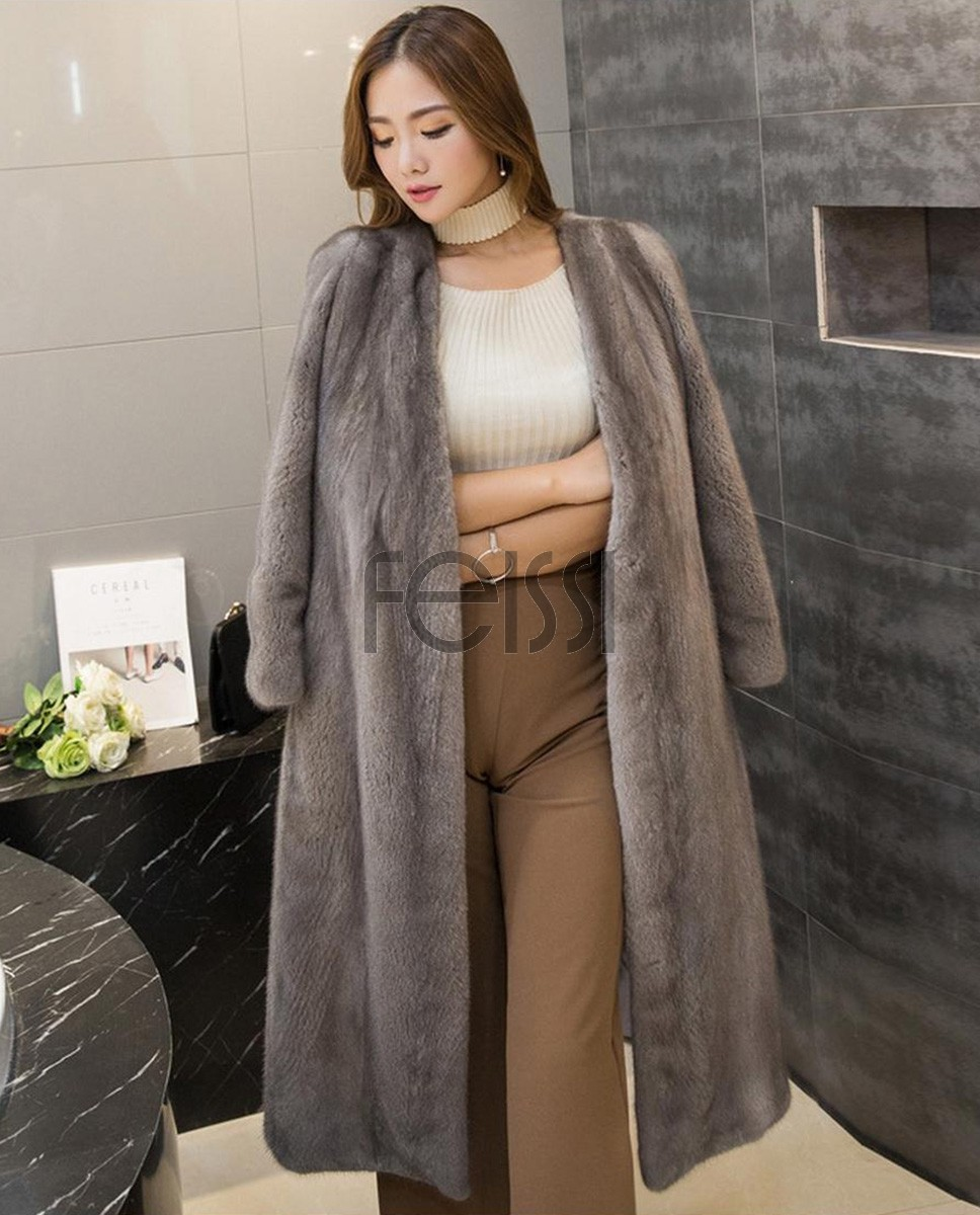 Mink Fur Coat 752 Silver 1