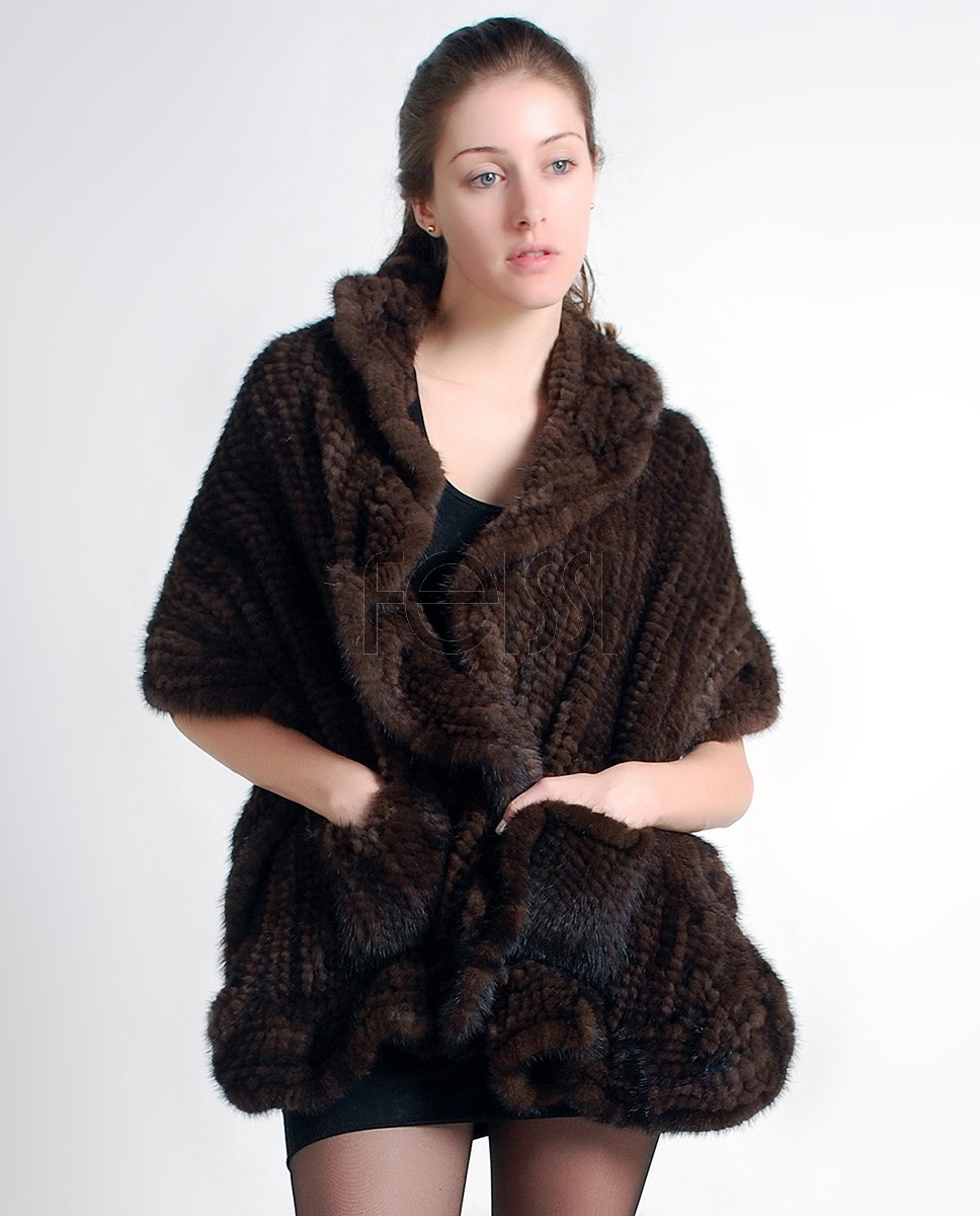 Mink Fur Knitted Shawl Brown camk66b 1