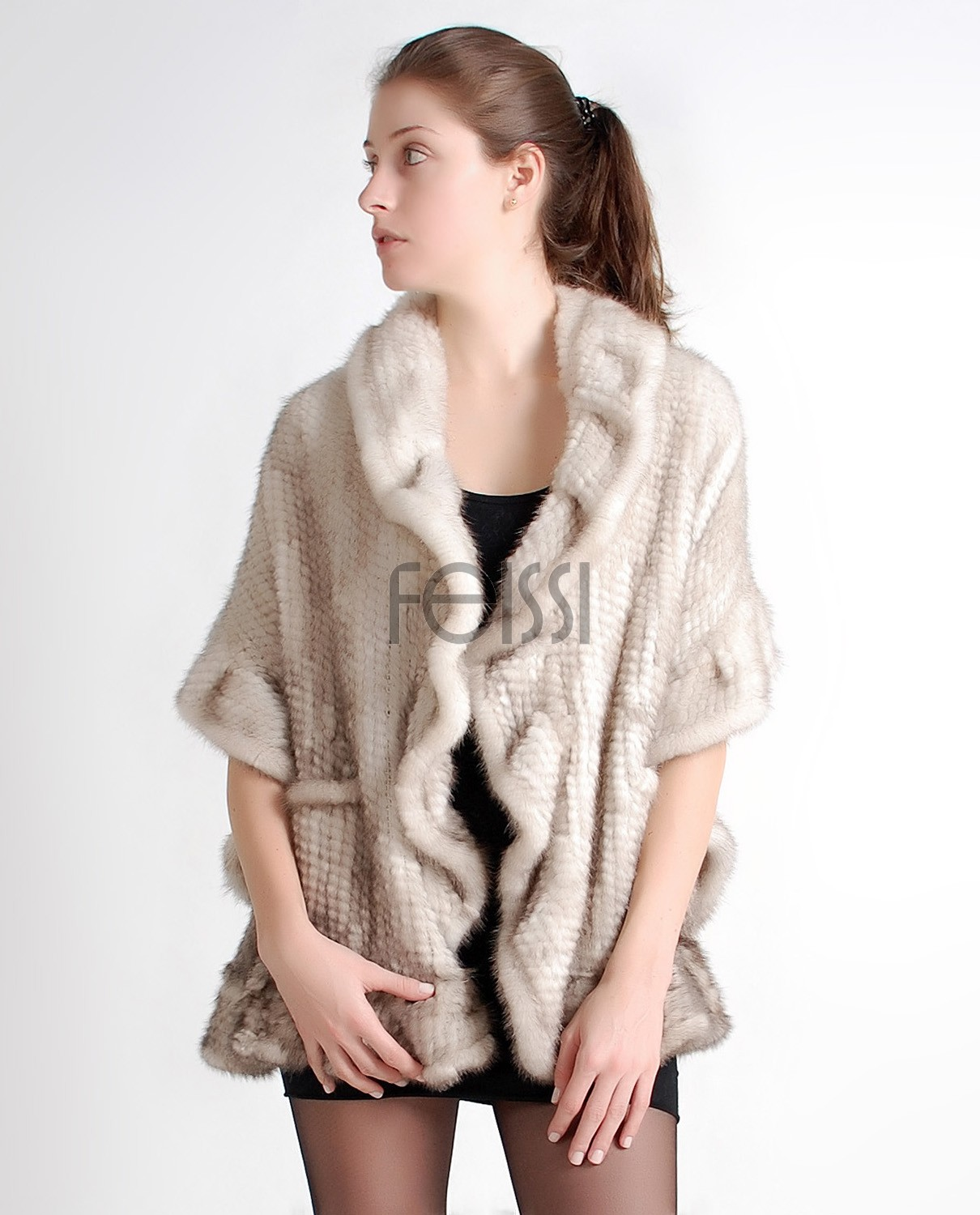 Mink Fur Knitted Shawl camk66c 1