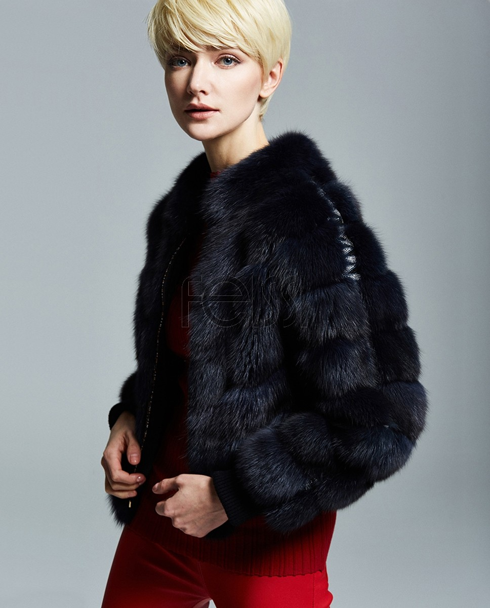 Navy Sable Fur Jacket 191a