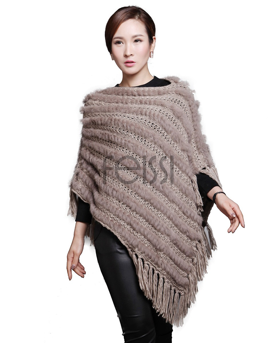 Rabbit Fur Knitted Pullover Cape with Wool Knitting 617_1