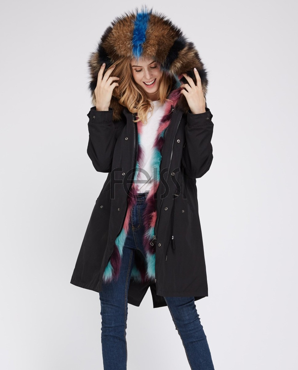 Raccoon Fur Trimmed Hooded Parka with Detachable Fox Fur Liner 242a