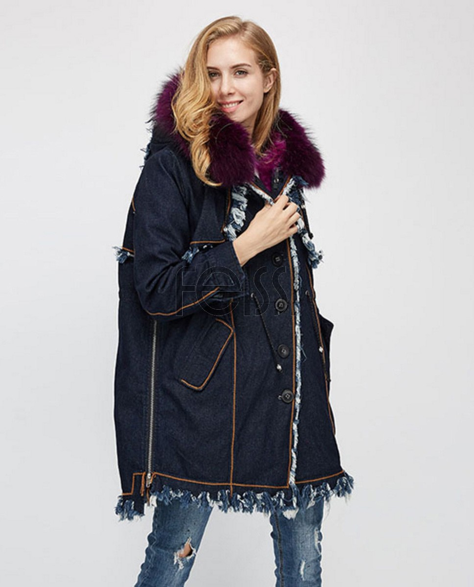 Raccoon Fur Trimmed Hooded Parka with Detachable Fox Fur Liner 935a