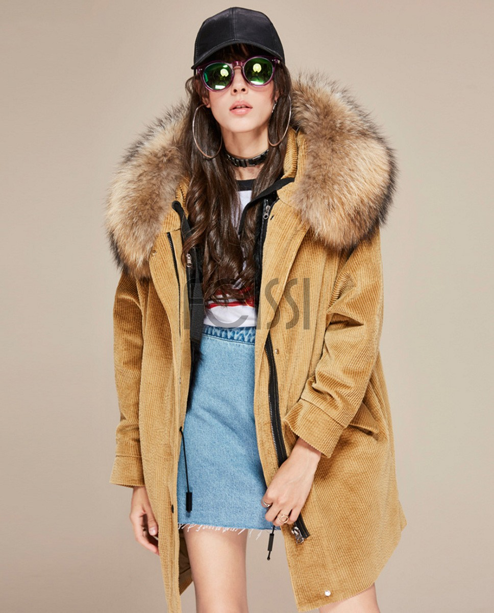 Raccoon Fur Trimmed Hooded Parka with Detachable Lamb Fur Liner 136a