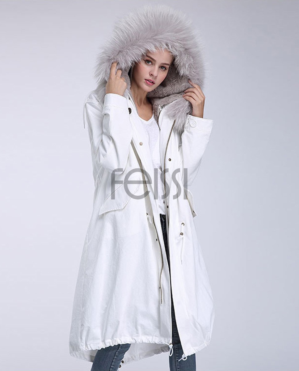 Raccoon Fur Trimming Hooded Parka with Detachable Rex Rabbit Fur Liner 944a