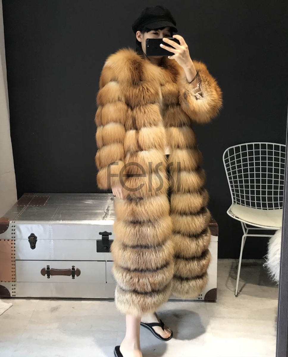 Red Fox Fur Coat Long Style in Natural Golden 0042a