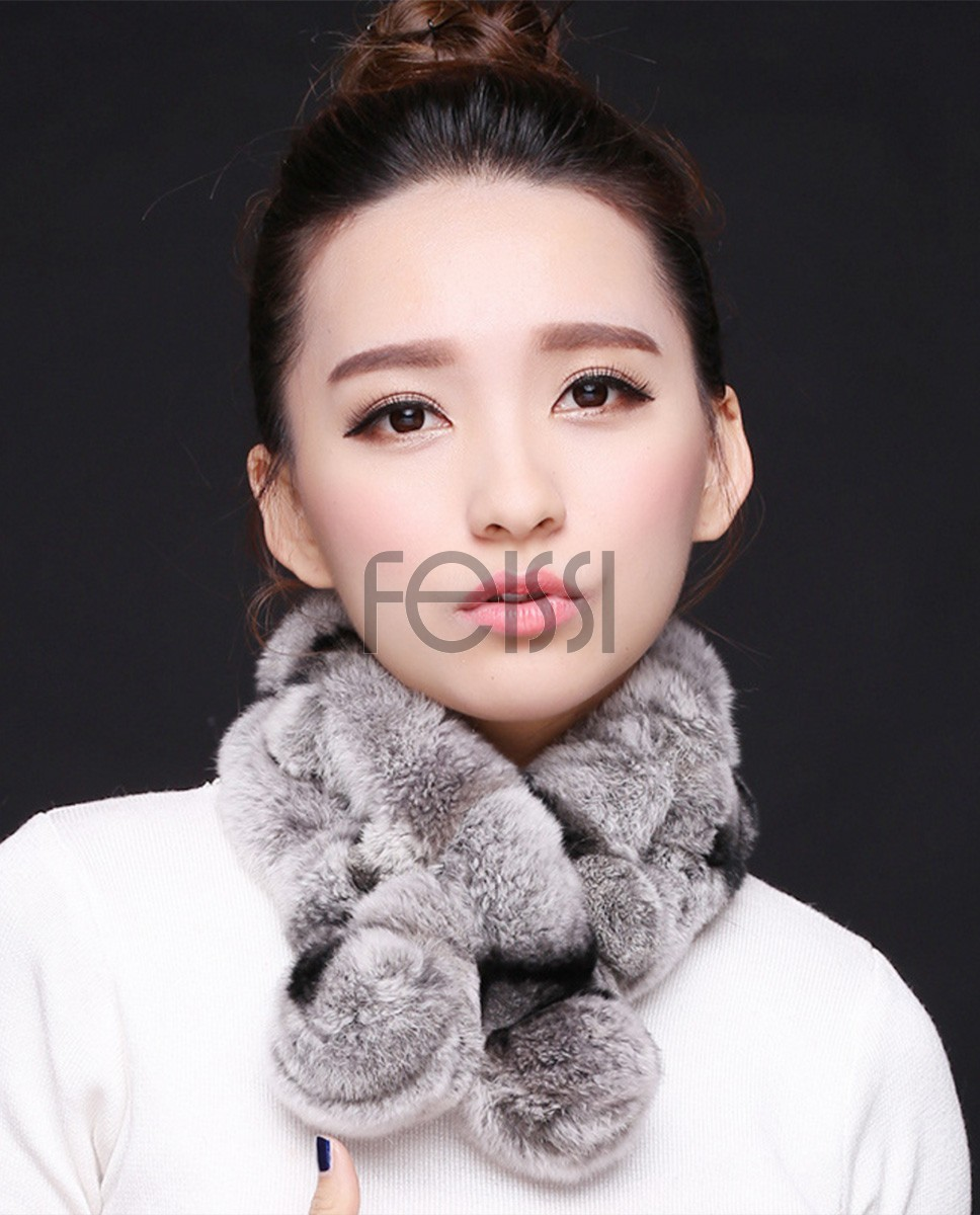 Rex Rabbit Fur Muffler 668 Gray with Black