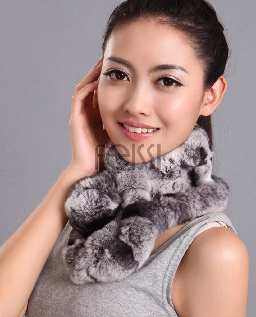 Rex Rabbit Fur Scarf 667 - Gray with Black