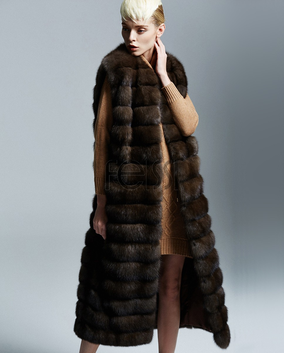 Sable Fur Long Vest 177a