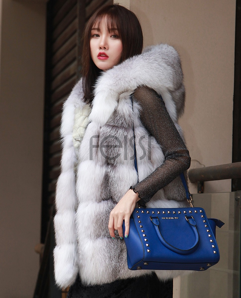 Shadow Blue Frost Fox Fur Hooded Vest 0003a