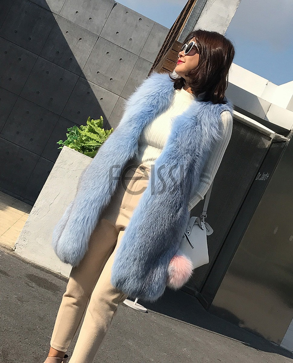 Shadow Blue Frost Fox Fur Vest 009a