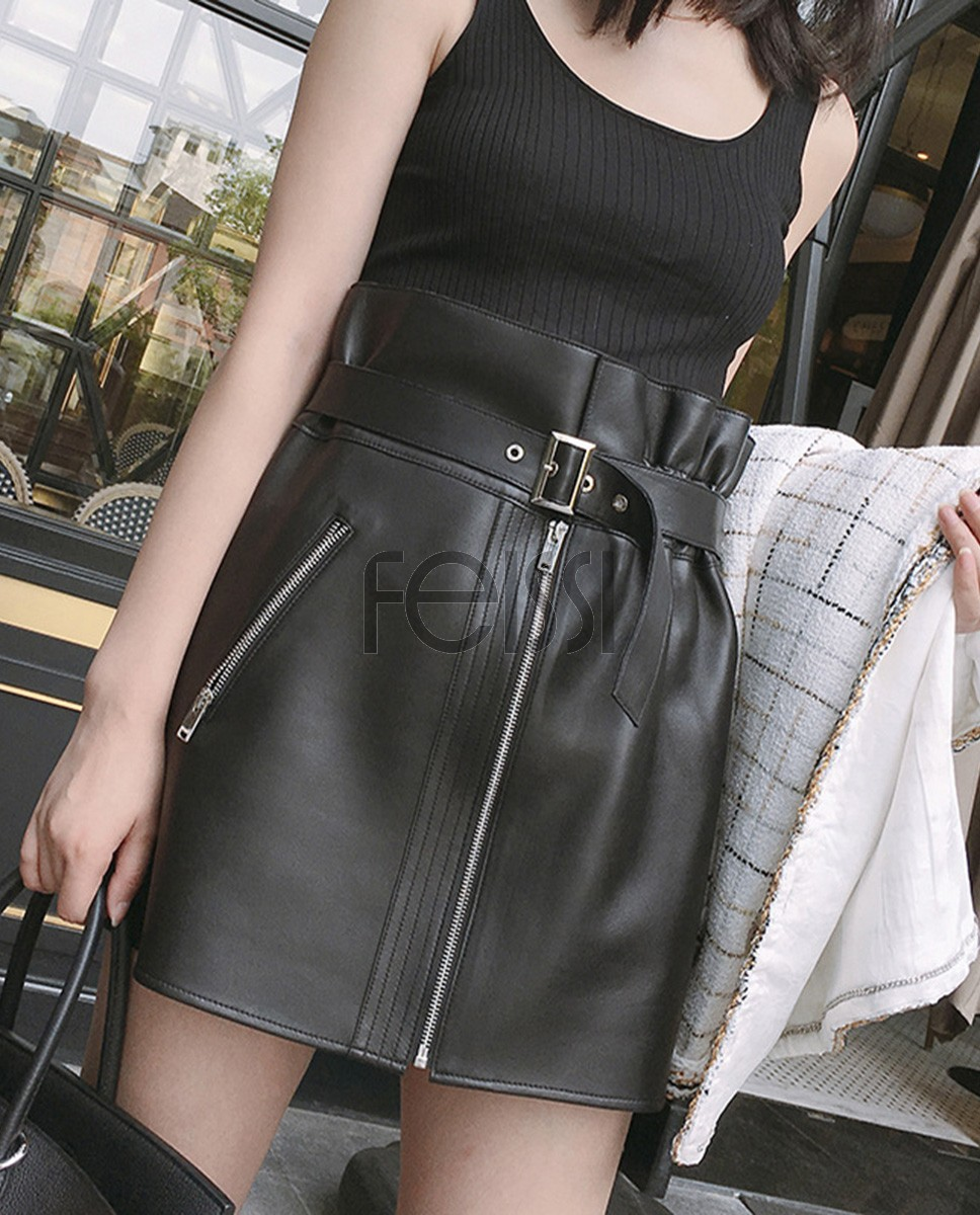 Sheepskin Real Leather Waistbelted Skirt 017a