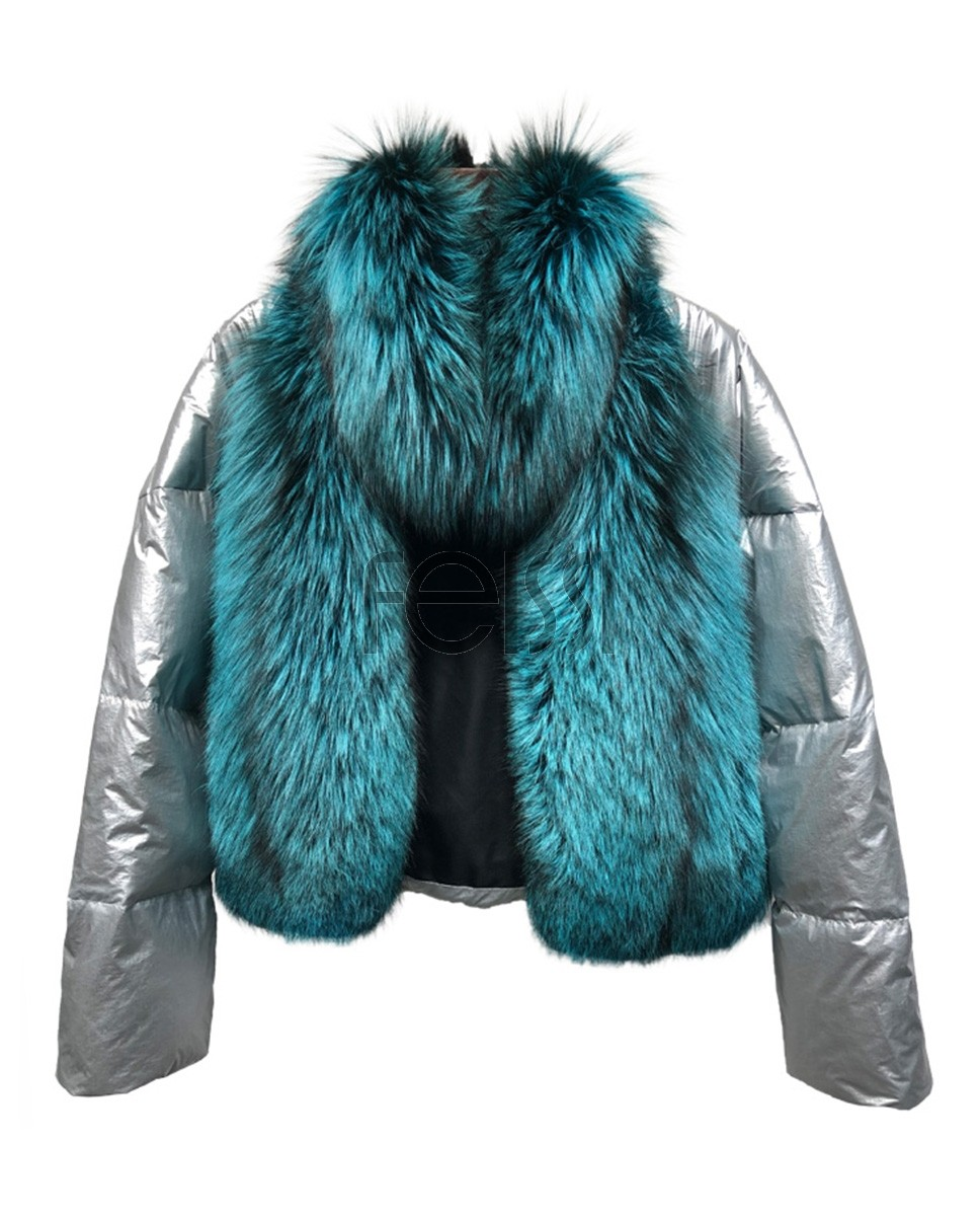 Silver Fox Fur Trimmed Down-filled Cropped Coat Jacket 0023a