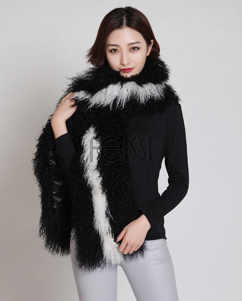 Tibet Sheep Fur Shawl 839 Black 6