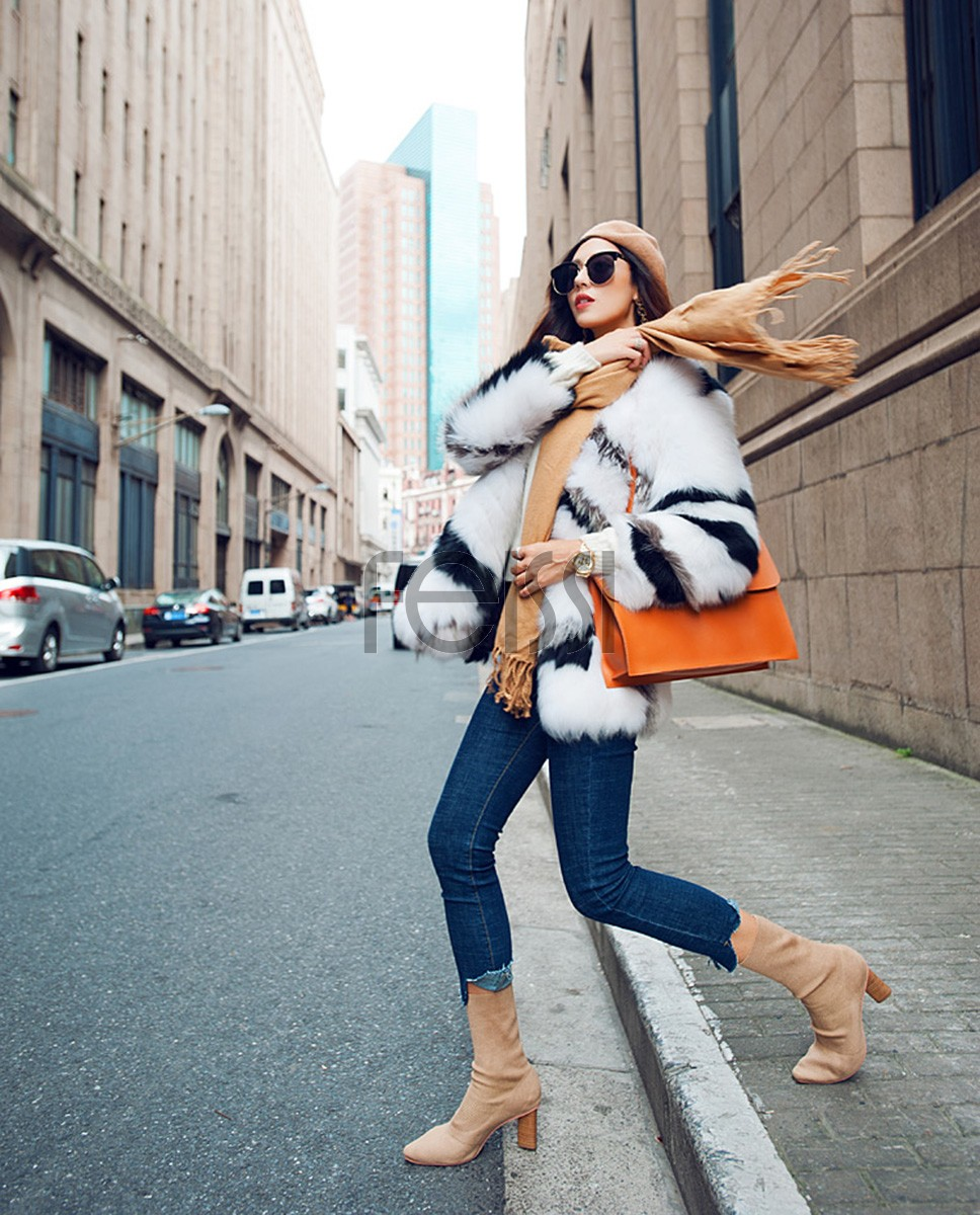 White Fox Fur Jacket with Black Stripes 095a