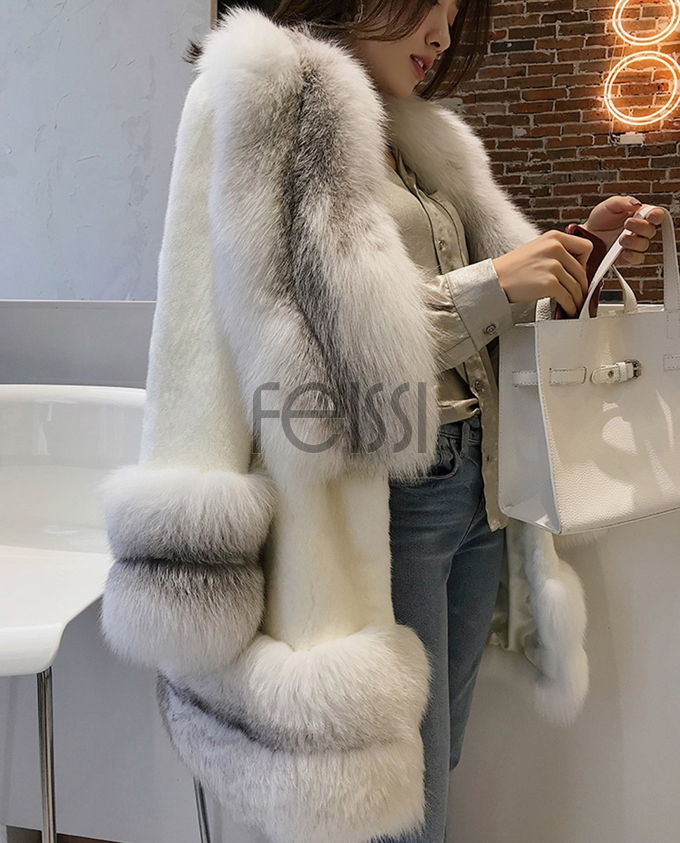 White Mink Fur Coat with Shadow Blue Frost Fox Fur Trim 0018a