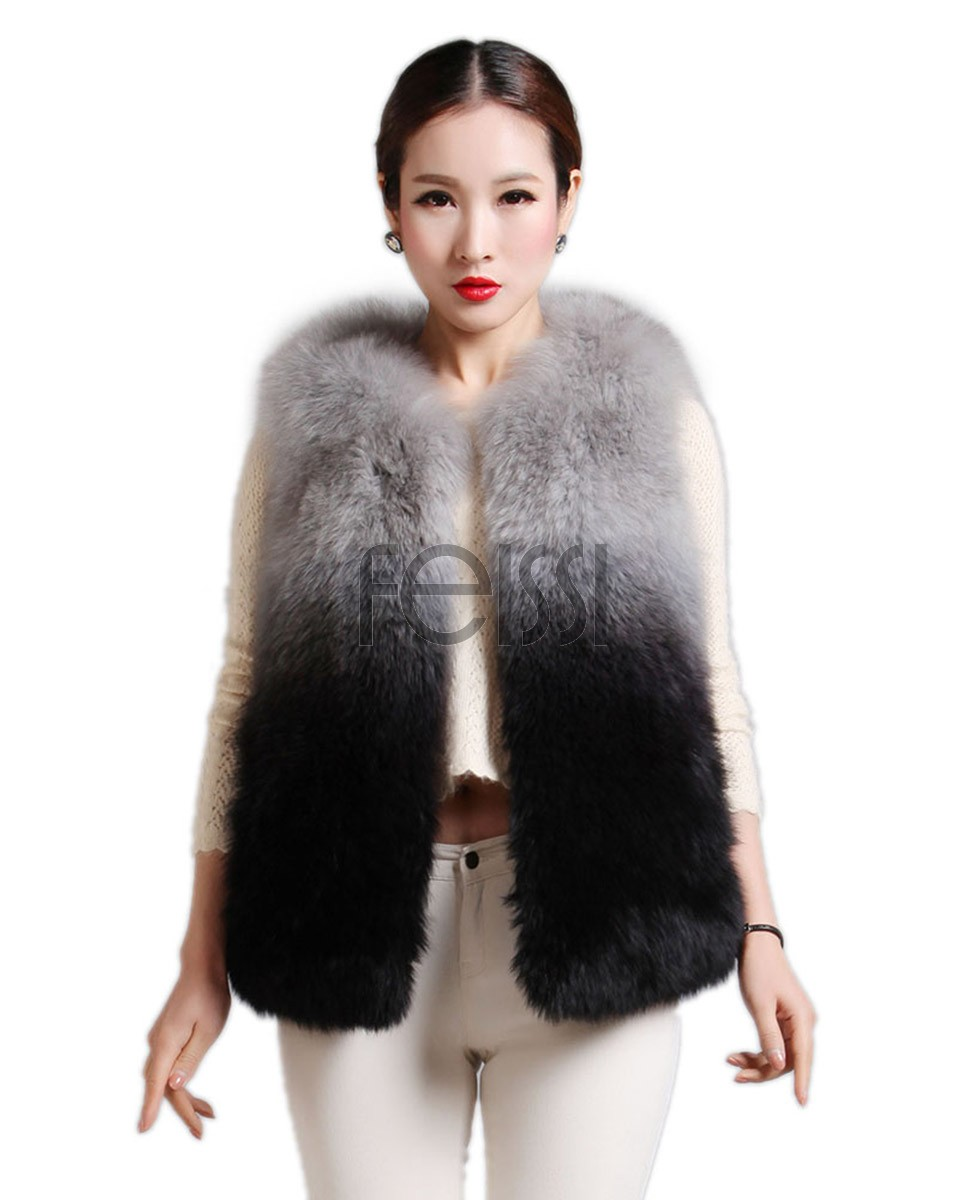 Women's Fox Fur Gilet in Gradient Colors 590_1