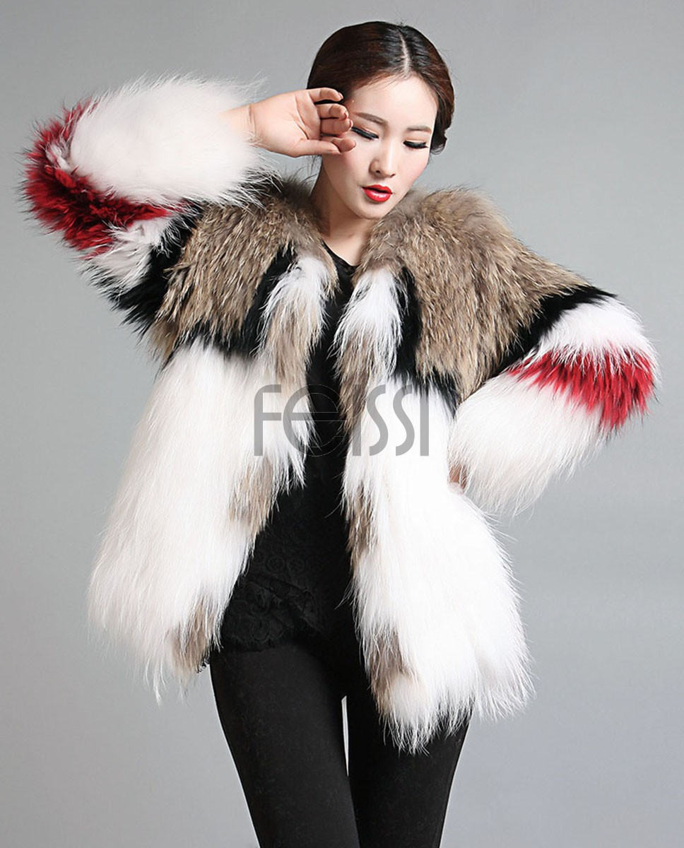 Women's Knitted Raccoon Real Fur Coat Jacket 595_1