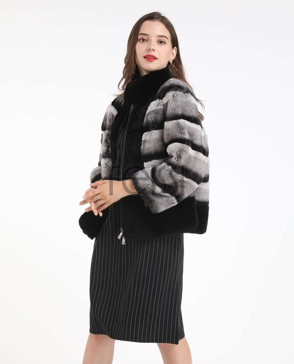 Zipped Rex Rabbit Fur Jacket