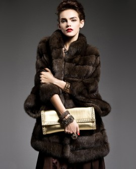 Batwing Sleeved Sable Fur Coat 195a