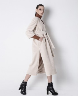 3/4 Length Belt Shearling Sheepskin Coat