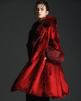Black Cross Mink Fur Long Coat With Silver Fox Fur Trim in Red 0063a