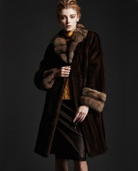 Brown Mink Fur Coat with Sable Fur Collar and Cuffs