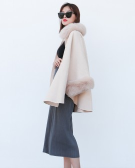 Cashmere Cape with Fox Fur Trim 827cb