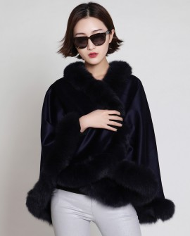 Cashmere Cape with Fox Fur Trim-Navy