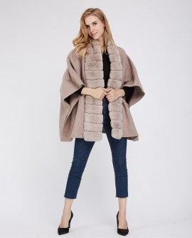 Cashmere Cape with Rex Rabbit Fur Trim 236h
