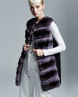 Chinchilla Fur Vest with Cashmere Back 155a