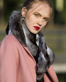 Chinchilla Fur Wrap, Scarf, Muffler