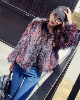 Cropped Knitted Fox Fur Jacket 985a