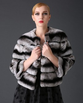 Cropped Rex Rabbit Fur Jacket with Chinchilla Look