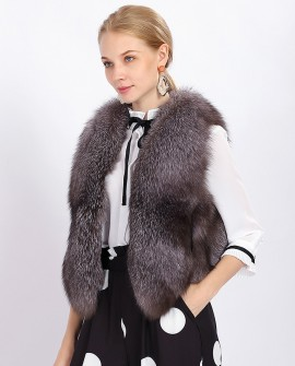 Cropped Silver Blue Fox Fur Vest 378a