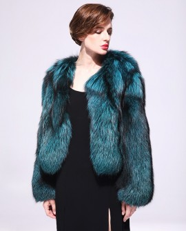Cropped Silver Fox Fur Bolero Jacket