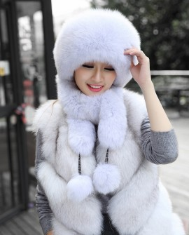 Fox Fur Hat with Fur Tails 875 Light Gray 1
