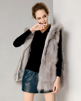 Hooded Fox Fur Vest with Woolen Jacket