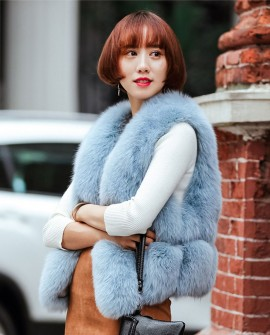 Fox Fur Vest, Light Blue