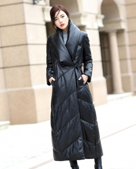 Full Length Sheepskin Leather Down Coat