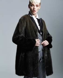 Gradient Color Mink Fur Coat